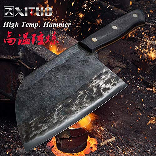 Best Quality Kitchen Knives Chinese Chef's Knife Cleaver Hard and Sharp Wide Blade Cut Meat Sliced Fish Fillets Slaughter with Full Handle NEW