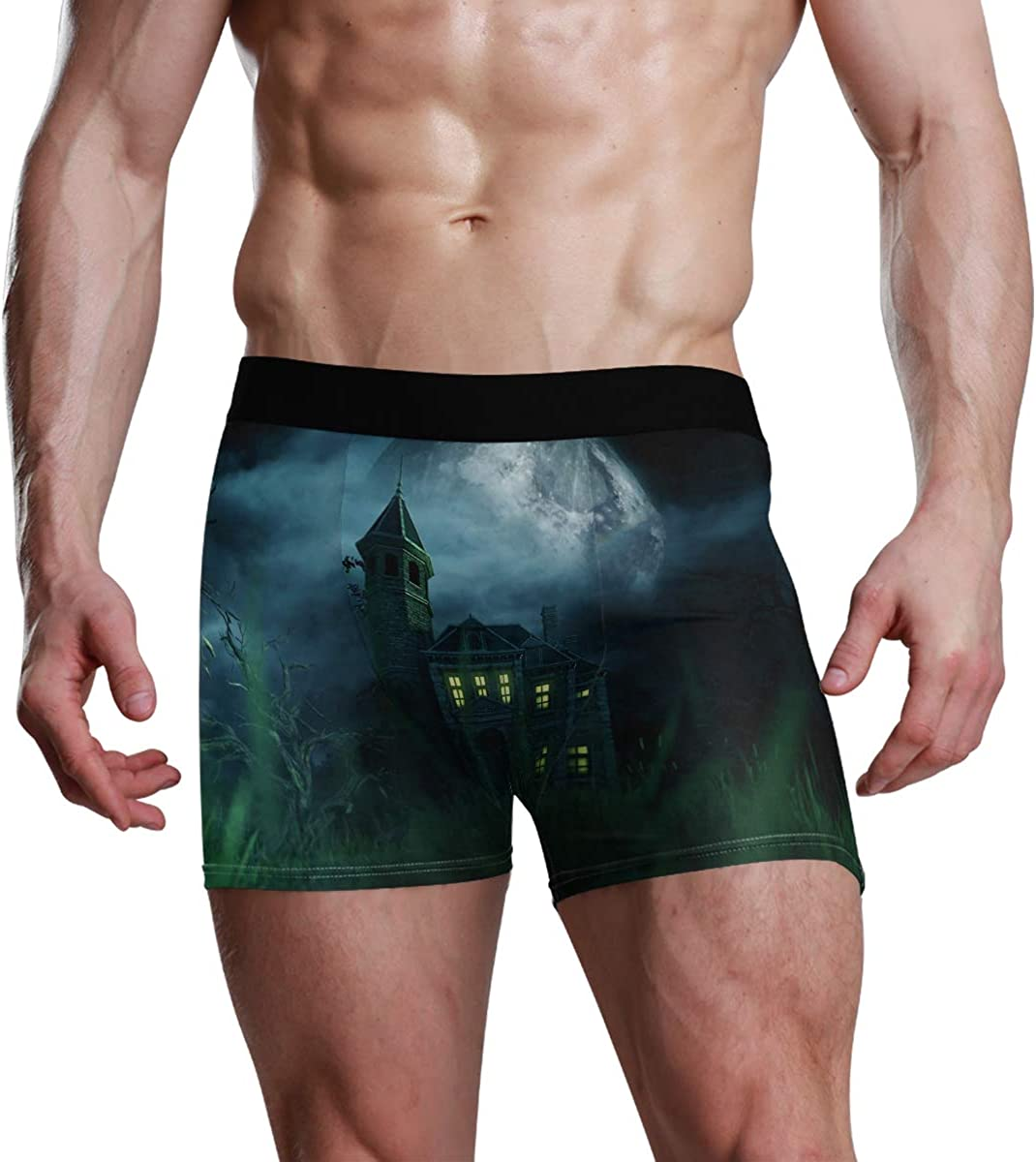 HangWang Mens Underwear Briefs Haunted House 3D Illustration Breathable Long Boxer Briefs Underwear Boys