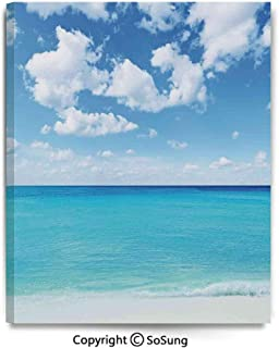 Canvas Wall Art Surreal Tropical Seascape with Dreamy Sea and Sky Paradise Coast Hawaiian Art Home Decorations for Bedroom Living Room Oil Paintings Canvas Prints Framed 24x30inch Turquoise White