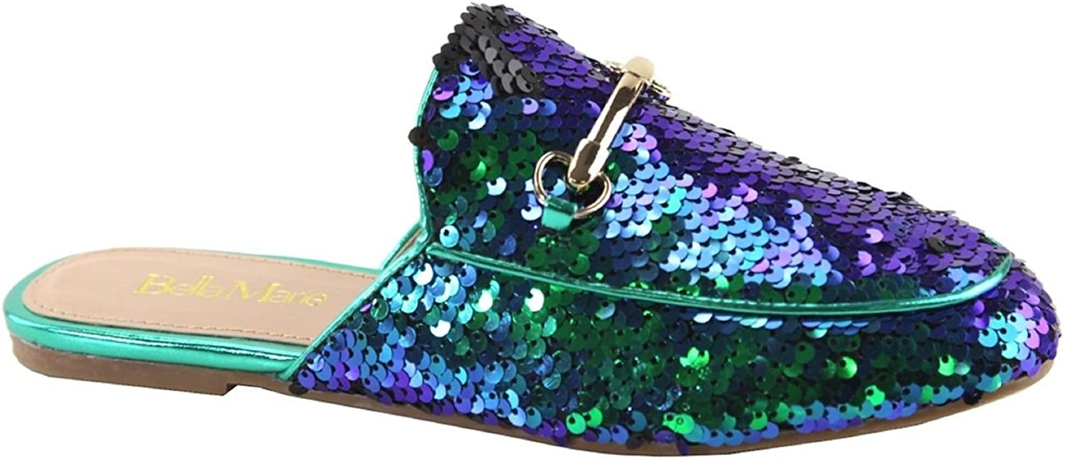 Bella Marie Gemma-20 Women Mule Oxford Slide Slip On Flat Loafer shoes Slipper Sequin Sparkle Hologram