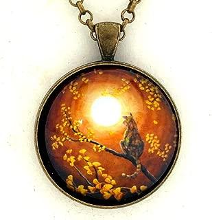 Tortie in Yellow Gingko Leaves Tortoiseshell Cat Pendant Handmade Jewelry Zen Moon Necklace