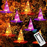 DAZZLE BRIGHT 8 Pcs Hanging Witch Hat String Lights, Light Up Waterproof Halloween Decorations with Remote Control for Outdoor Garden Party Carnival Supplies Decor
