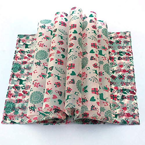 Christmas Wax Paper Deli Wraps Food Wrapping Basket Liners Deli Papers for Handmade Soap,Cookies and Carmels (100 sheets, Reindeer)