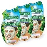 Montagne Jeunesse Tuchmaske mit natürlichen Inhaltsstoffen - 3er Set (Teebaumöl & grüne Minze (porentief reinigend)