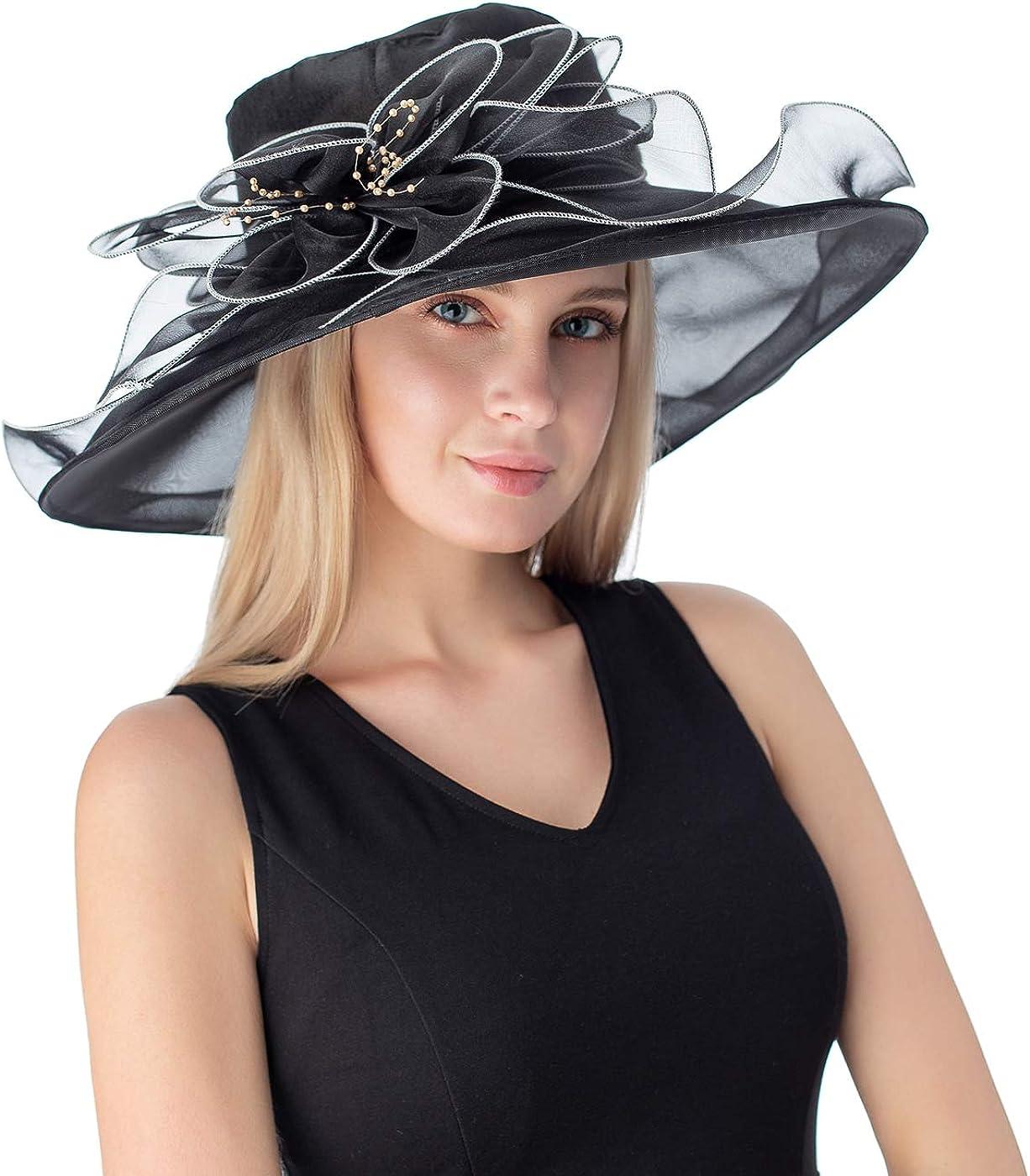 FELIZHOUSE Women's Floral Organza Tea Party Hat Ladies Kentucky Derby Fascinator Hats for Bridal Wedding Sun Hats