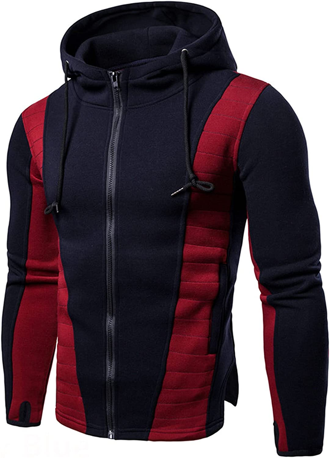 YUIJ Mens Casual Slim Fit Hoodie,Fashion Color Block Coat,Zip-Up Long Sleeve Active Jackets