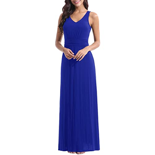 a43c598695d2a Zattcas Womens Double V Neck Sleeveless Ruched Waist Casual Long Party Maxi  Dress …