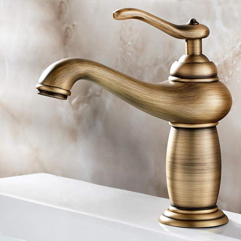 Messing Chrom Retro Warmes und kaltes Wasser Waschbecken Wasserhahn Warmes und kaltes Kupfer Waschbecken Waschbecken Einlochmontage Antiker Wasserhahn