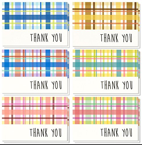 Blank Thank You Cards and Envelopes, 6 Plaid Designs (4 x 6 In, 48 Pack)
