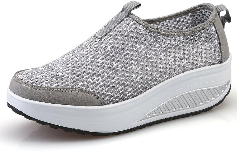 CYBLING Womens Mesh Walking shoes Breathable Lightweight Slip on Wedges Platform Fitness Tennis Sneaker