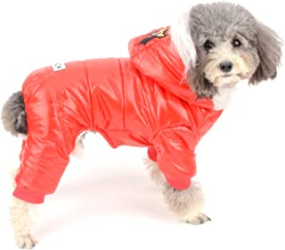 Ranphy Waterproof Dog Snowsuit Jumpsuit Fleece Lined Winter Coat with Hood Puppy Clothes Outfit Padded Hoodie Jacket Boy Girl Parka for Small Dog Cat
