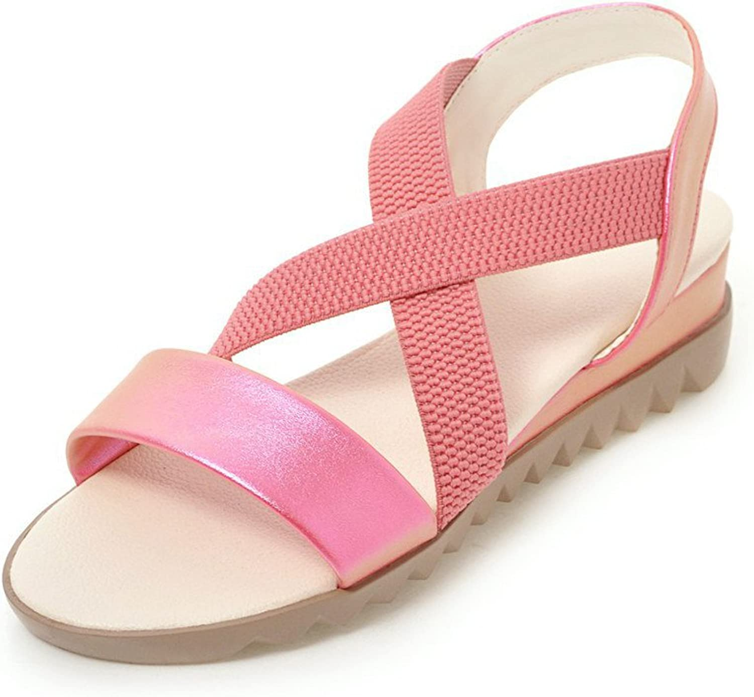Women's shoes PU Spring Summer shoes Sandals Walking shoes Low Heel Wedge Heel Round Toe Appliques for Casual Outdoor