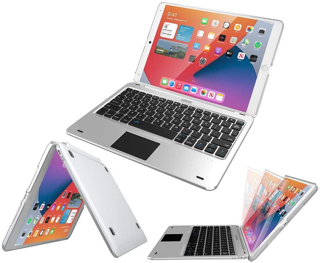 iPad 8th Gen 10.2-inch 2020 Keyboard Case with Track Pad, Arteck Bluetooth Keyboard with Folio Full Protection Case and Touch Pad for Apple 10.2-inch iPad 8 and iPad 7 with 130 Degree Swivel Rotating