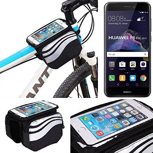K-S-Trade Rahmentasche Für Huawei P8 Lite 2017 Dual SIM Rahmenhalterung Fahrradhalterung Fahrrad Handyhalterung Fahrradtasche Handy Smartphone Halterung Bike Mount Wasserabweisend, Silber-schwarz