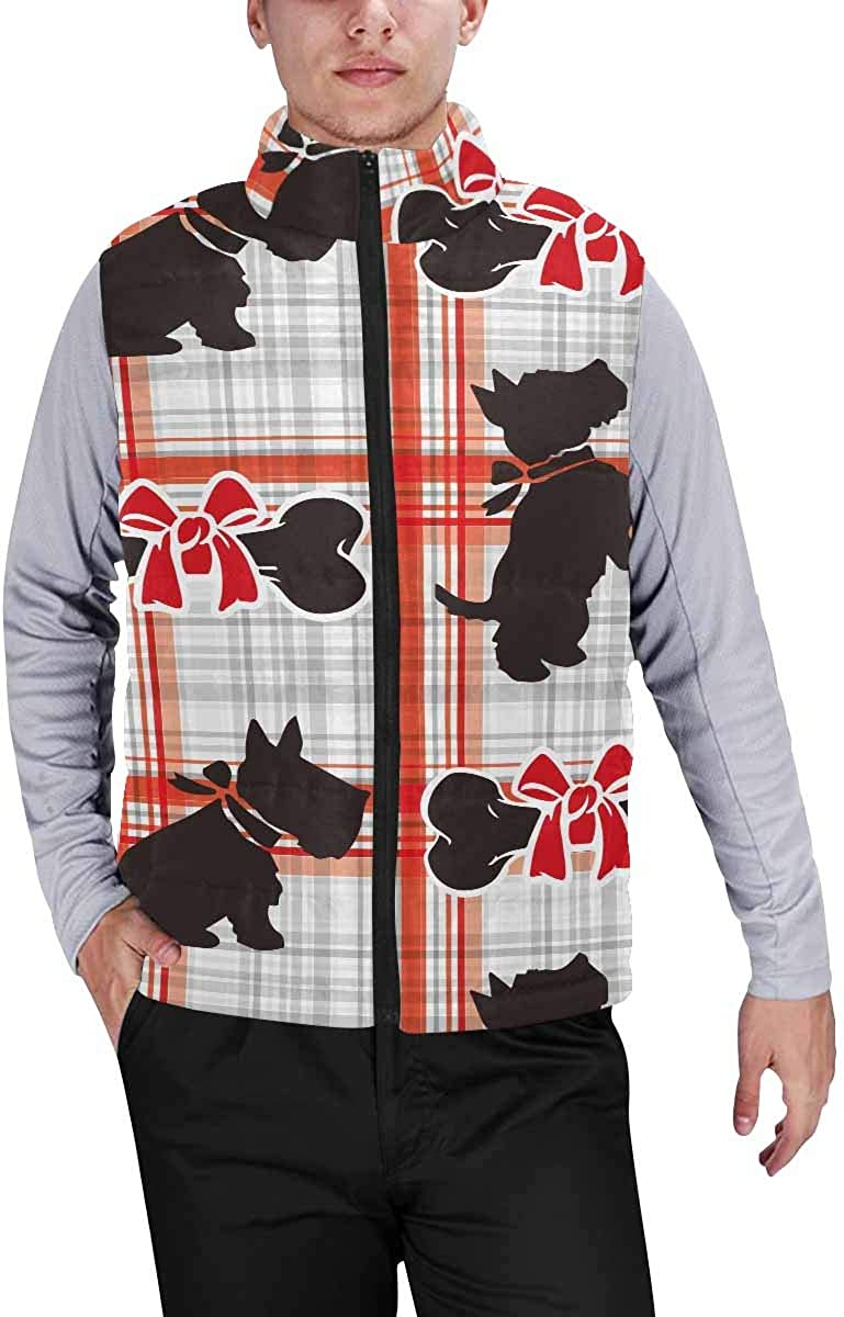 InterestPrint Men's Outdoor Casual Stand Collar Sleeveless Jacket Scottie Dog Pattern