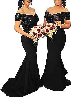 LeoGirl Women's Off Shoulder Sequins Satin Bridesmaid Dress Long Mermaid Wedding Party Gown