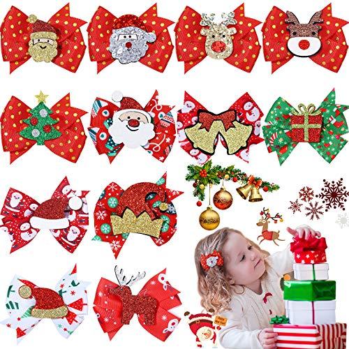12 Pieces Christmas Hair Bows for Girls Christmas Alligator Hair Clips Ribbon Bows Hair Barrettes Xmas Cute Hair Bows Santa Hair Clips for Babies Children Women