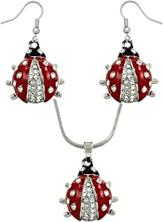 Silvertone Adorable Little Ladybug Charm Pendant Necklace and Earrings Set 21