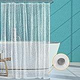 Feagar EVA-Duschvorhang mit Magneten & 12 kostenlosen Haken, wasserdicht & umweltfre&lich, geruchlos, 3D-Kieselstein-Badvorhänge, halbtransparent, 238 x 198,1 cm