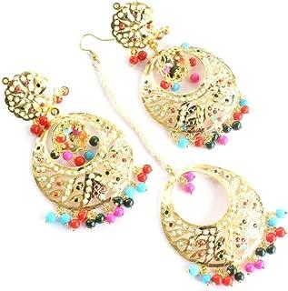 Jadau Bollywood Navratan Traditional Ethnic Punjabi Muslim Pakistani Earrings Tikka Set