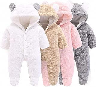 Mondayflower Newborn Sleeper for Boys, Infant Baby Cartoon Bear Snowsuit Warm Fleece Hooded Romper Jumpsuit