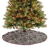 Homesonne Falda de árbol abstracta con patrón de encaje gráfico con flores y mariposas inspiradas en...
