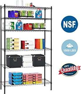 6 Shelf Wire Shelving Unit Heavy Duty Metal Storage Shelves NSF Wire Shelf Organizer Black Height Adjustable Commercial Grade Layer Shelf Rack 1500 LBS Capacity-16x42x72