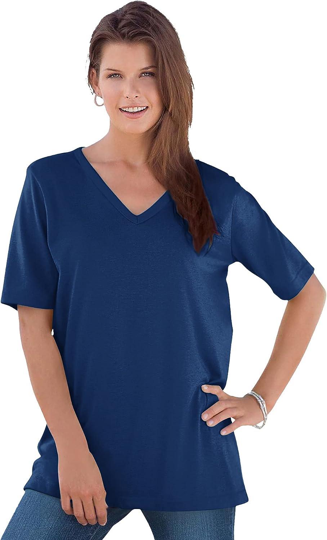 Roamans Women's Plus Size V-Neck Ultimate Tee 100% Cotton T-Shirt