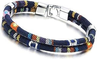 comprar comparacion Dos Hebra Azul Marino Tribal Tibetano Algodón Pulsera, Hombre Mujer Niños Pulsera del Abrigo