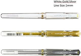 Uni ball Signo UM153 Whit,Gold,Silver Gel Inc Pen,1.0mm,set of 3 with our original ball point pen