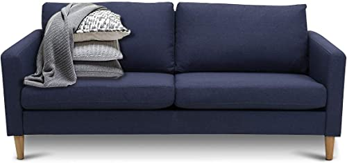 2021 Giantex Modern Upholstered Accent Sofa, Fabric Futon online sale Sofa Bed, Loveseat Couch w/Wood Leg and Armrest, Removable Cover, Leisure Lounger for new arrival Home Office Living Room (Navy Blue) outlet online sale
