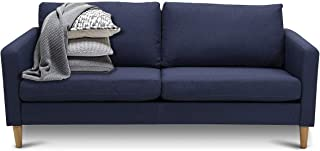 Giantex Modern Upholstered Accent Sofa, Fabric Futon Sofa Bed, Loveseat Couch w/Wood Leg and Armrest, Removable Cover, Leisure Lounger for Home Office Living Room (Navy Blue)