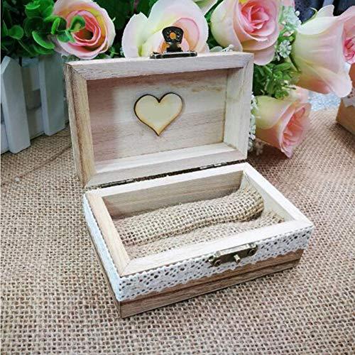 Caja de anillo única – Vintage personalizado grabado decorativo caja de madera caja para anillos de boda o compromiso propuesta regalo