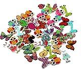 Dosige Botones 50 PCS Varias formas de seguridad 2 agujeros, Botón Imprimir para coser Scrapbooking, manualidades Colores aleatorios