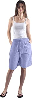 Gemmy Days (16184STF Womens Cotton 100% Bermuda Shorts Casual wear/Yarn Dyed. Size Free. Thin Stripe Design.