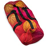 Crown Sporting Goods 39' Mesh Sports Ball Bag with Adjustable Shoulder Strap, Oversize Duffle - Great for Carrying Gym Equipment, Jerseys, Laundry (Red)