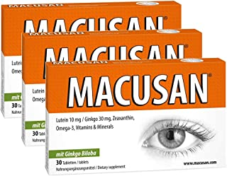Macusan Suplementos para la Vista | Vitamina con Luteína. Zeaxantina. Ginkgo y Omega 3 para Mejorar la Vista | Tabletas para Mejorar la Visión