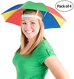 Bedwina Umbrella Hat Cap, 20 Inch, Pack of 4, Rainbow Colors, Hands Free, Adjustable, Fits for Kids and Adults