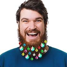 Olivilo 23 Pcs Beard Lights, Mini Christmas Ornaments, 8 Pcs Lights and 15 Pcs Colorful Sounding Jingle Bells, Beard Light...