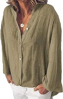 Loyomobak Women's V-Neck Solid Color Casual Buttons Plus Size Loose Fit Cotton Linen Shirt Blouse Top