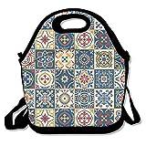 Sitear - Bolsa térmica para el almuerzo, neopreno, reutilizable, grande, impermeable, para viajes al aire libre, trabajo, diseño de azulejos marroquíes
