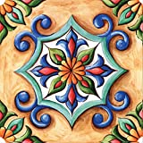 Self-Adhesive DIY Stickers Peel and Stick Wall Backsplash Decals Home Tiles for Kitchen/Living Room/Bathroom in Moroccan Portuguese Mexican Talavera Design - Pack of 6