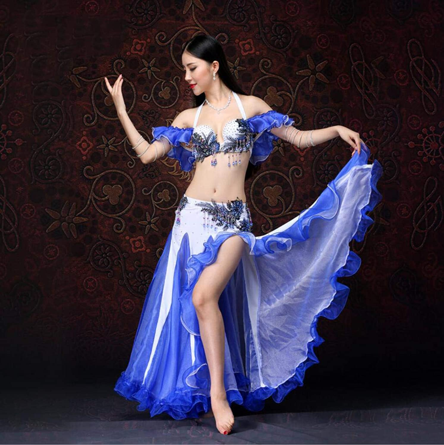 Belly Dance Performance Fungus Skirt Exercise Clothes Sexy High Slit Big Skirt Bra Bag Hip Skirt Suit Sexy Elegant Polyester Fiber,XL