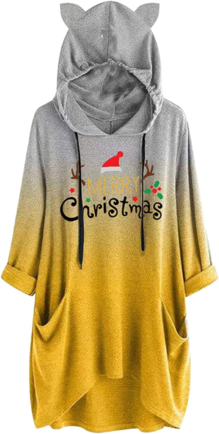 Christmas Oversized Sweatshirt for Women Graphic Drawstring Hoodie Long Sleeve Trendy Loose Pullover Top With Pockets