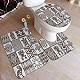 BIBOZHAO Juego de alfombras de baño de 3 Piezas,Retro Totem Rana...