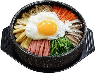 ZZFF Coreano Stone Bowl,Olla De Cocina Coreana,Donabe Arrocera,Mano-elaborado Moteado Olla De Cerámica Cacerola,Dolsot Bibimbap Bowl,Hot Pot para Cocinar Sopa Dolsot Negro 1l
