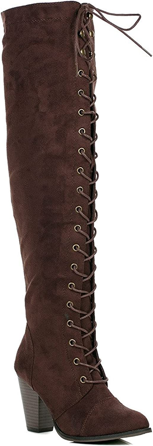 ShoBeautiful Womens Chunky Heel Over The Knee High Riding Boots Lace up Corset Thigh High Combat Boots Winter shoes by