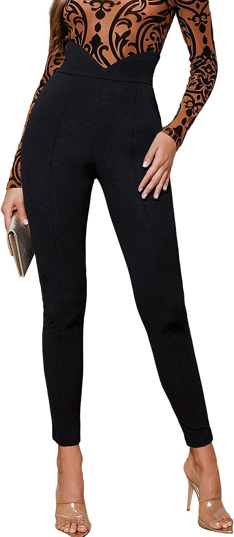 Verdusa Women's Elegant Asymmetrical High Waist Skinny Cropped Pants