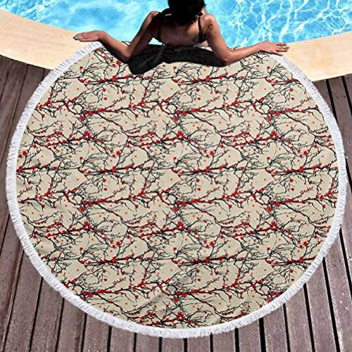 prunushome Luxury Thick Round Beach Towel Cherry Blossom Lightweight Beach Towel Vivid Japanese Garden Tree Branches Nature Inspired Ornaments Lightweight, Fast Dry Towels, Sand Free (Diameter 59')