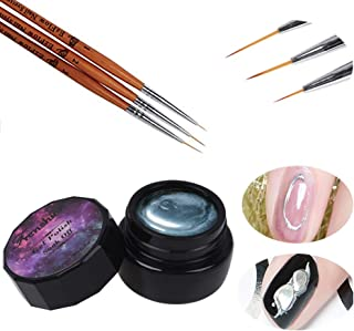 3D 8g Mirror Effect Silver Gel Nail Art Painting Gel Designs Painting Drawing Gel Soak Off UV LED Gel Nail Polish Manicure with Brushes in 6mm 9mm 12mm